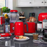 red kitchen appliances