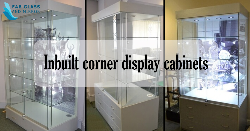 Inbuilt corner display cabinets